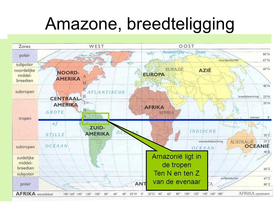 Amazone, breedteligging Amazonië ligt in de tropen Ten N en ten Z van de evenaar