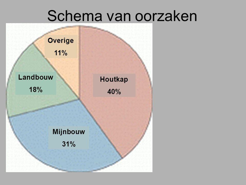 Houtkap 40% Mijnbouw 31% Landbouw 18% Overige 11% Schema van oorzaken