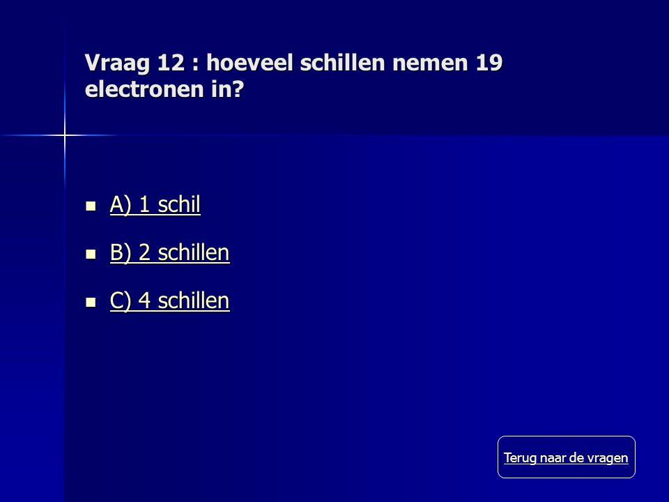Vraag 12 : hoeveel schillen nemen 19 electronen in.