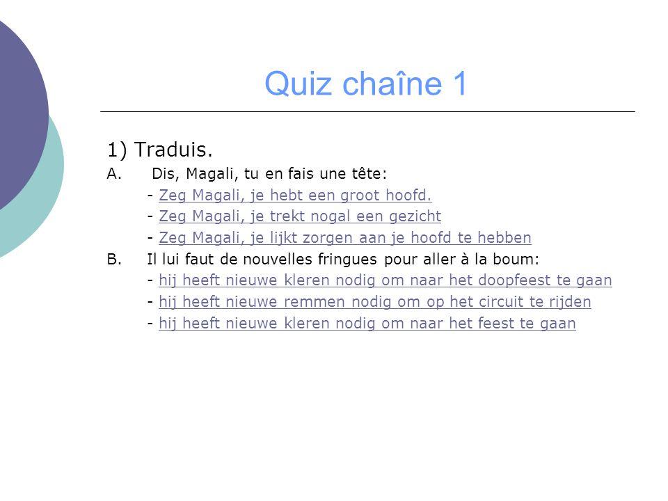 Quiz chaîne 1 1) Traduis. A. Dis, Magali, tu en fais une tête: - Zeg Magali, je hebt een groot hoofd.Zeg Magali, je hebt een groot hoofd. - Zeg Magali