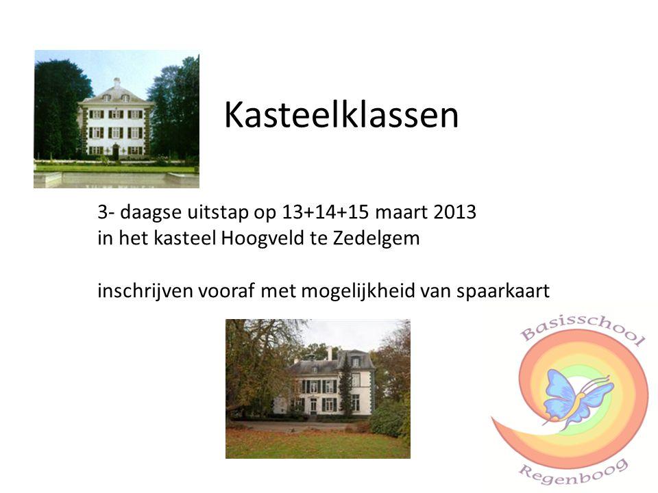 Kasteelklassen 3- daagse uitstap op 13+14+15 maart 2013 in het kasteel Hoogveld te Zedelgem inschrijven vooraf met mogelijkheid van spaarkaart