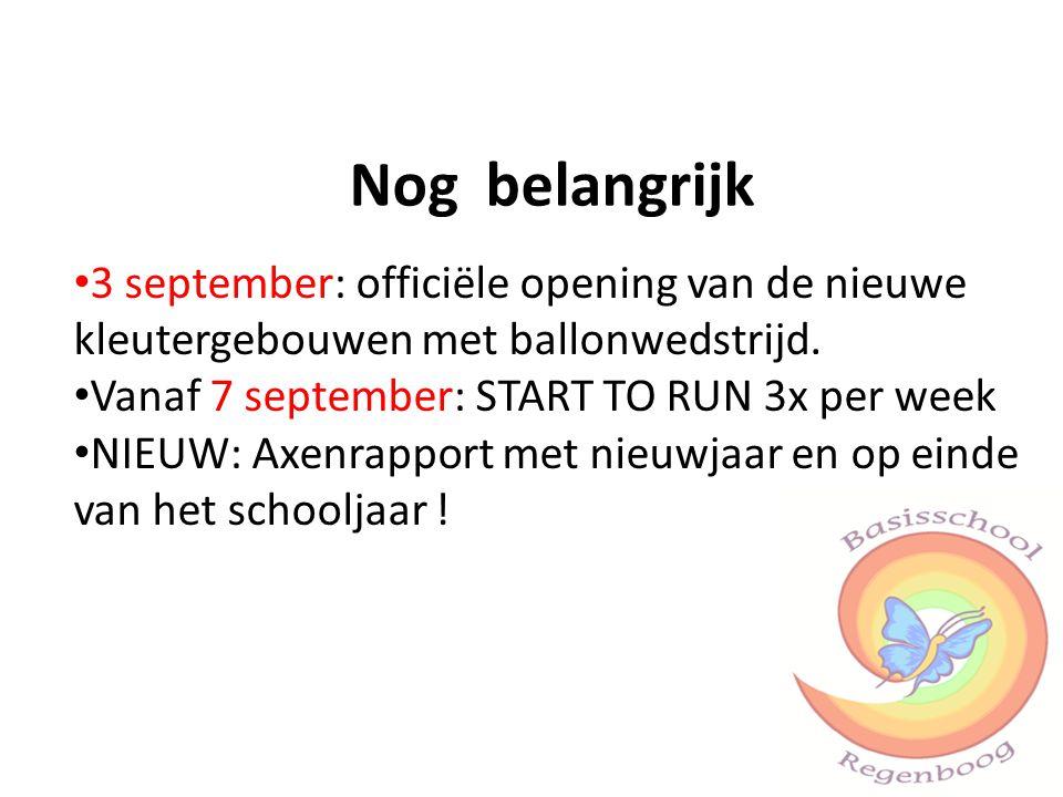 Nog belangrijk 3 september: officiële opening van de nieuwe kleutergebouwen met ballonwedstrijd. Vanaf 7 september: START TO RUN 3x per week NIEUW: Ax