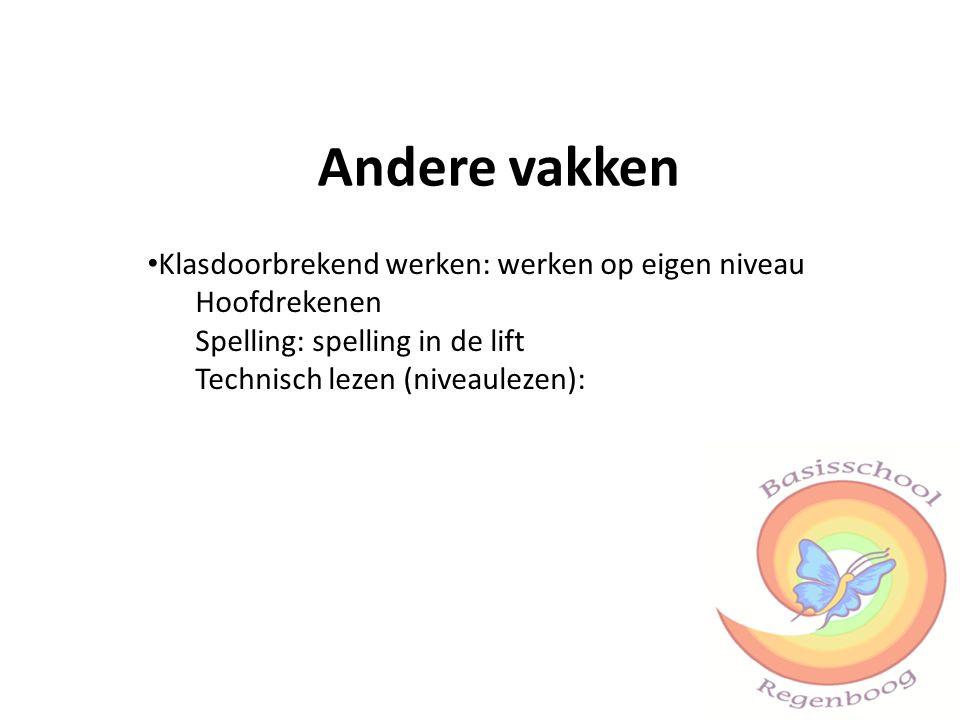 Andere vakken Klasdoorbrekend werken: werken op eigen niveau Hoofdrekenen Spelling: spelling in de lift Technisch lezen (niveaulezen):