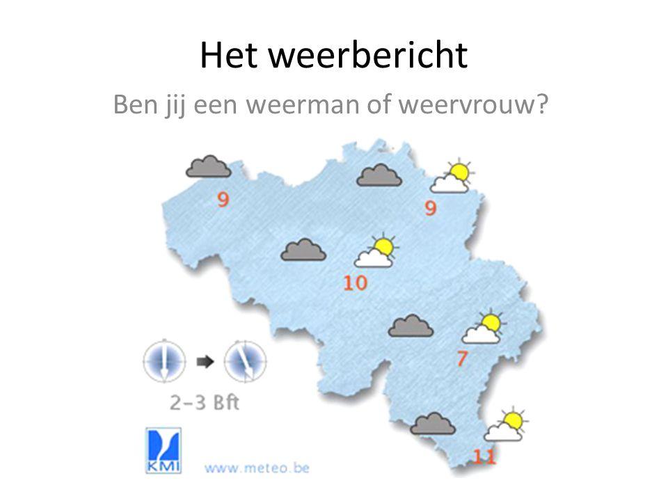 Het weerbericht Ben jij een weerman of weervrouw?