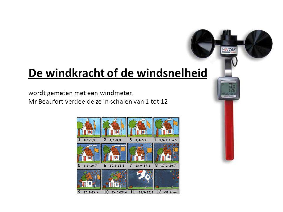 De windkracht of de windsnelheid wordt gemeten met een windmeter.