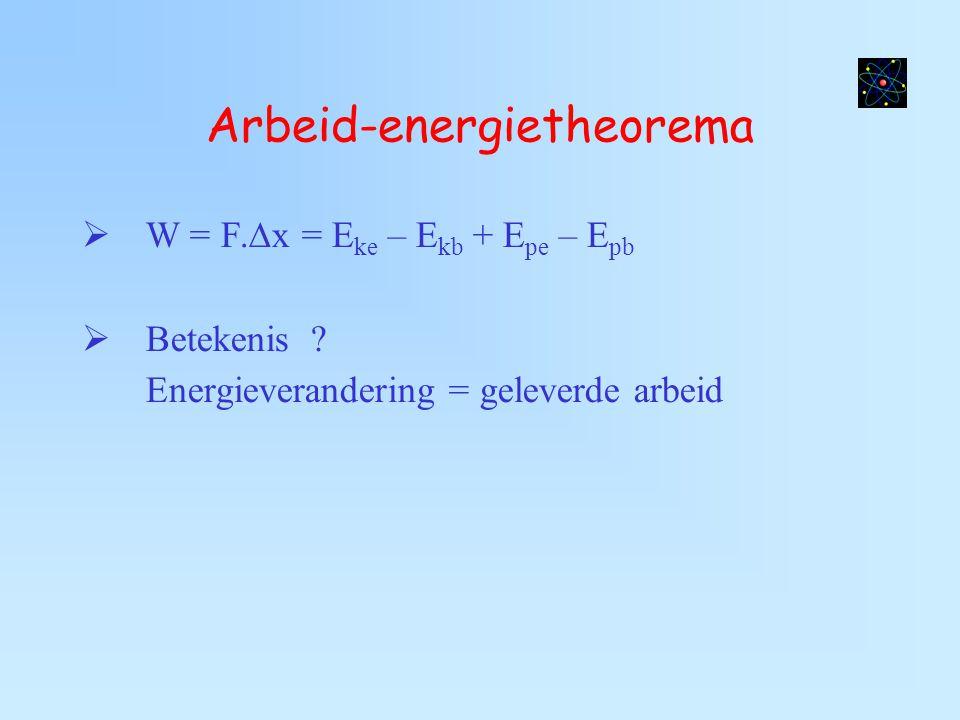 Arbeid-energietheorema  W = F.∆x = E ke – E kb + E pe – E pb  Betekenis ? Energieverandering = geleverde arbeid
