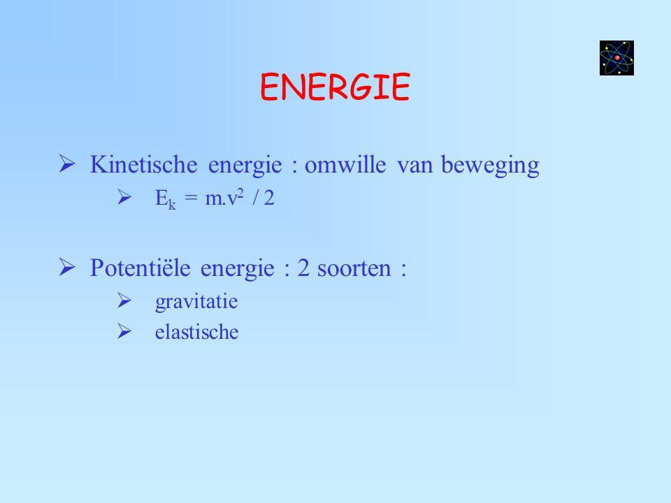 ENERGIE  Kinetische energie : omwille van beweging  E k = m.v 2 / 2  Potentiële energie : 2 soorten :  gravitatie  elastische