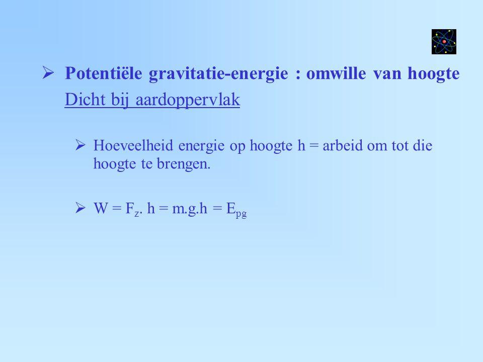  Potentiële gravitatie-energie : omwille van hoogte Algemeen :  Voorwerp massa m, aarde massa m a,,,, afstand x  F g = (G.m.m a )/x²  Potentiële energie = arbeid  W = negatief : F en ∆x tegengesteld  E pot = -G.m.m a /|x|