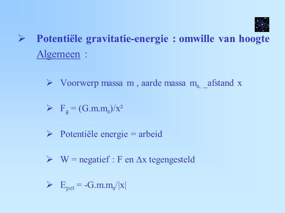  Potentiële gravitatie-energie : omwille van hoogte Algemeen :  Voorwerp massa m, aarde massa m a,,,, afstand x  F g = (G.m.m a )/x²  Potentiële e