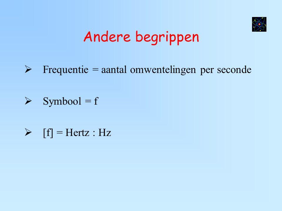 Andere begrippen  Frequentie = aantal omwentelingen per seconde  Symbool = f  [f] = Hertz : Hz