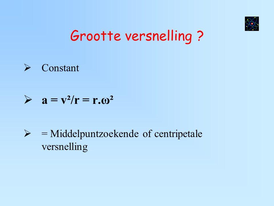 Grootte versnelling ?  Constant  a = v²/r = r.ω²  = Middelpuntzoekende of centripetale versnelling