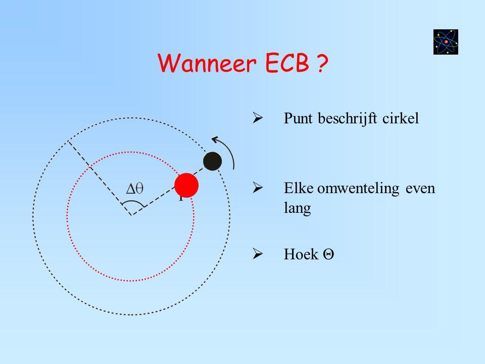 Wanneer ECB ?  Punt beschrijft cirkel  Elke omwenteling even lang  Hoek Θ