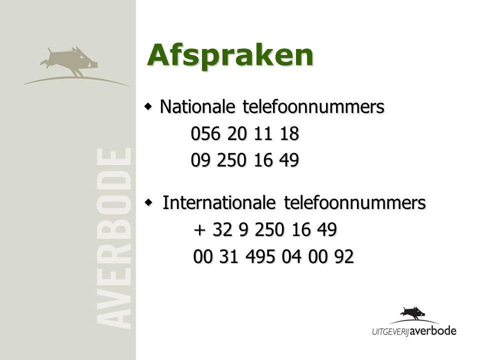 Afspraken  Internationale telefoonnummers + 32 9 250 16 49 00 31 495 04 00 92  Nationale telefoonnummers 056 20 11 18 09 250 16 49