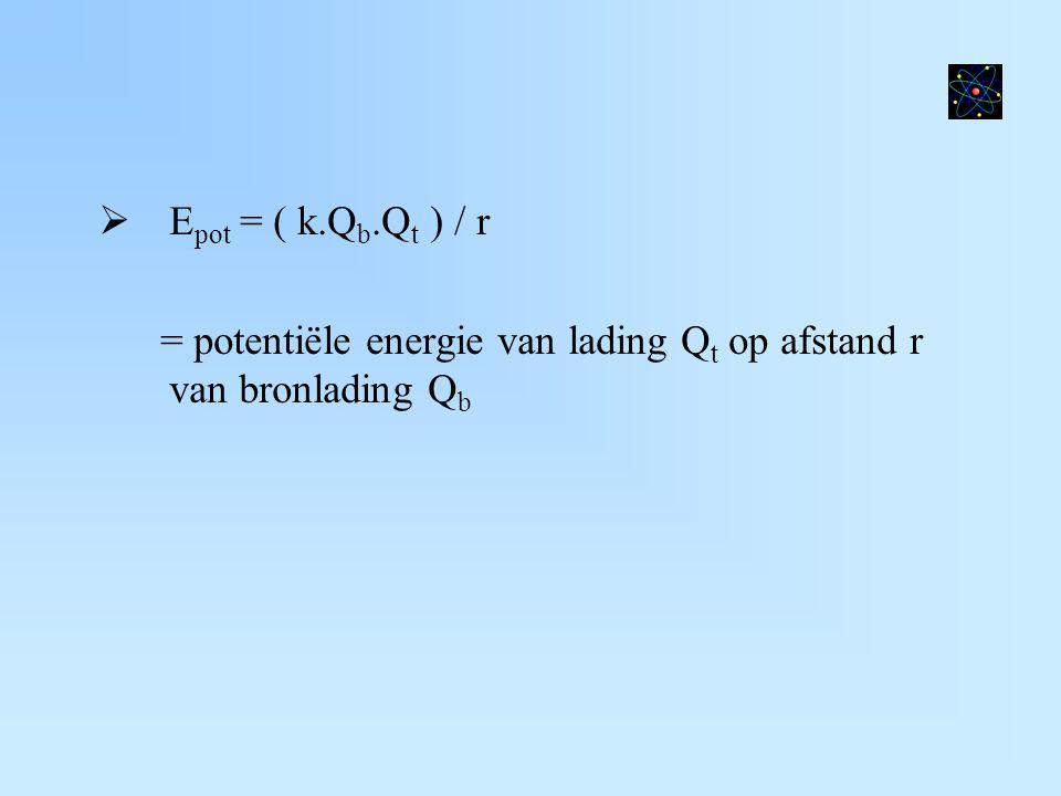  E pot = ( k.Q b.Q t ) / r = potentiële energie van lading Q t op afstand r van bronlading Q b