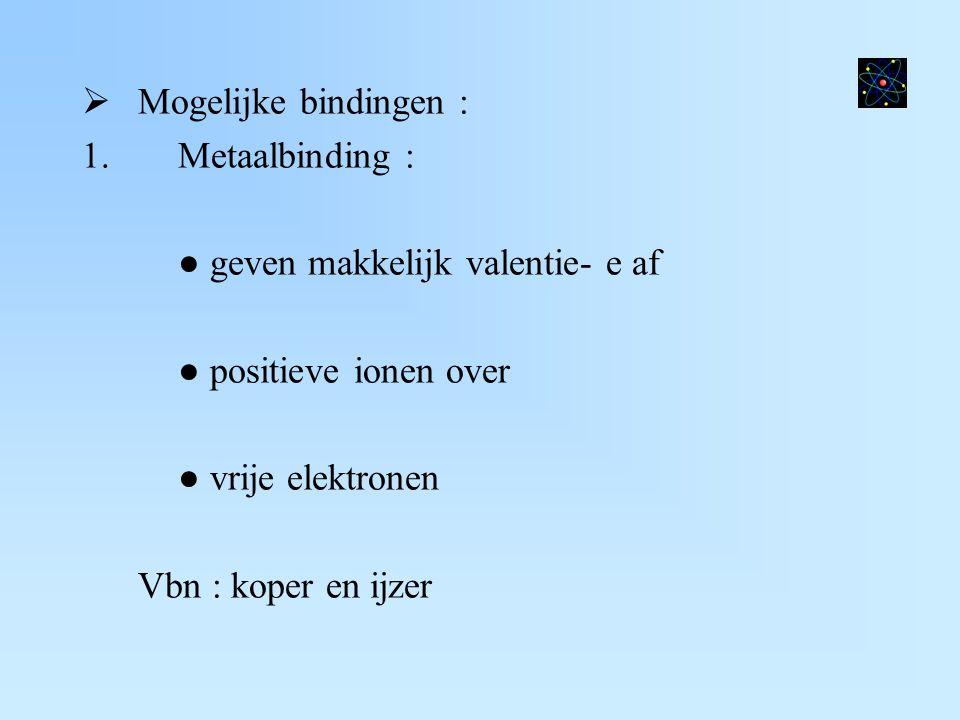  Mogelijke bindingen : 1.Metaalbinding : ● geven makkelijk valentie- e af ● positieve ionen over ● vrije elektronen Vbn : koper en ijzer
