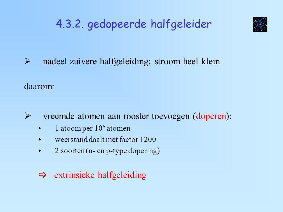 n-type dopering  dopering met As (groep Va) 4 e - covalente binding 1 e - heel zwak gebonden (bijna vrij)  donor  kern: vast positief ion (geen gat)