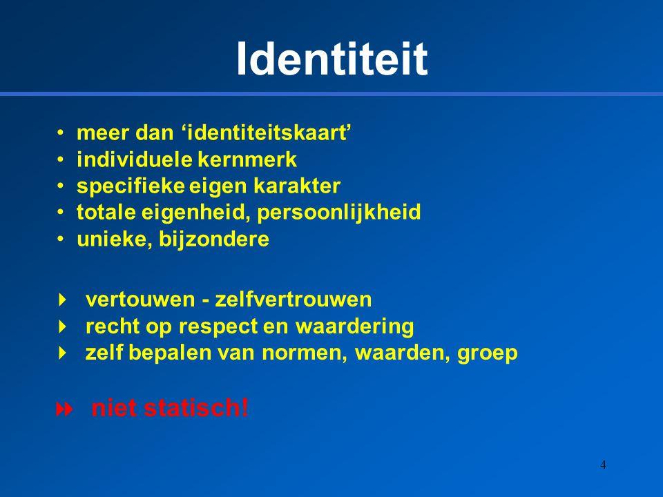 4 Identiteit meer dan 'identiteitskaart' individuele kernmerk specifieke eigen karakter totale eigenheid, persoonlijkheid unieke, bijzondere  vertouw