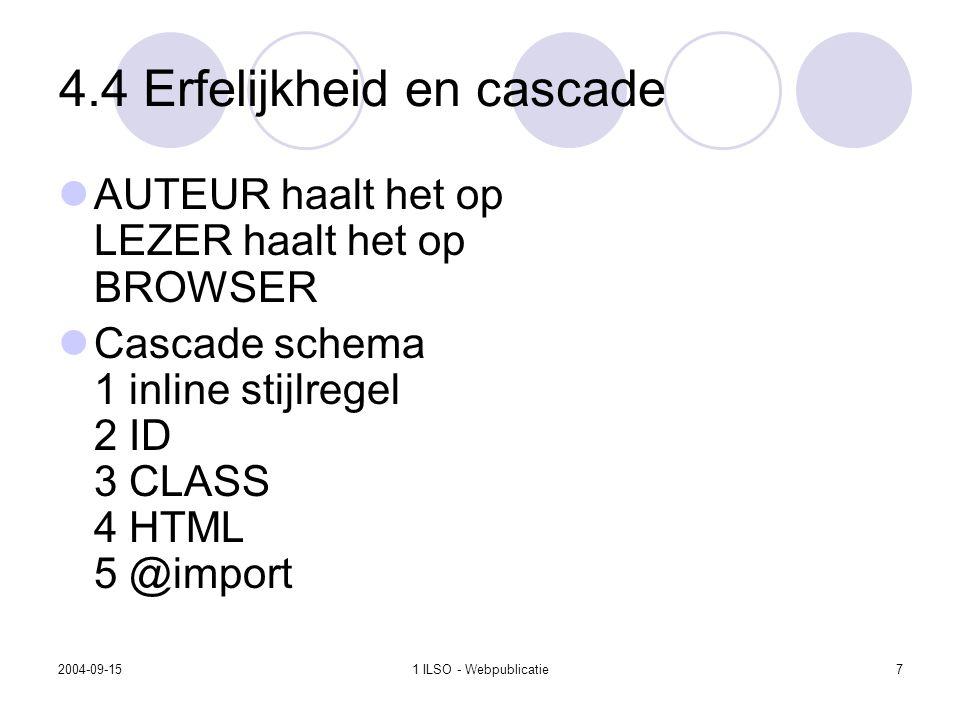 2004-09-151 ILSO - Webpublicatie7 4.4 Erfelijkheid en cascade AUTEUR haalt het op LEZER haalt het op BROWSER Cascade schema 1 inline stijlregel 2 ID 3