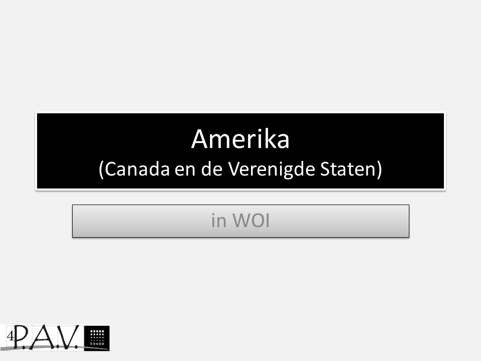 Amerika (Canada en de Verenigde Staten) in WOI