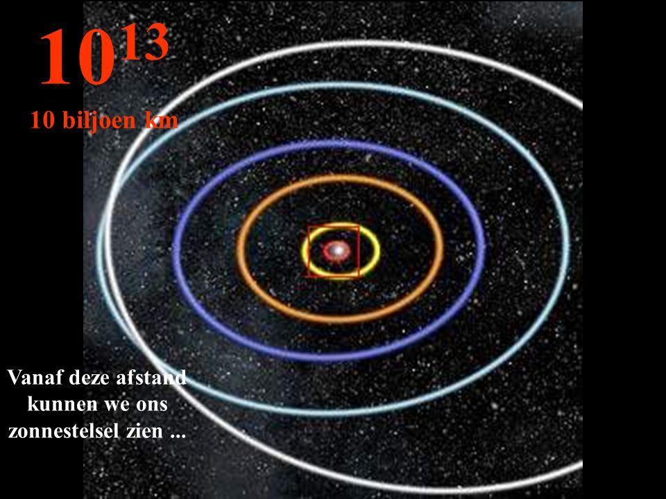 Vanaf deze afstand kunnen we ons zonnestelsel zien... 10 13 10 biljoen km