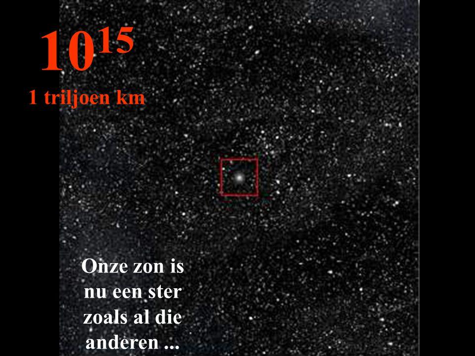 Onze zon is nu een ster zoals al die anderen... 10 15 1 triljoen km