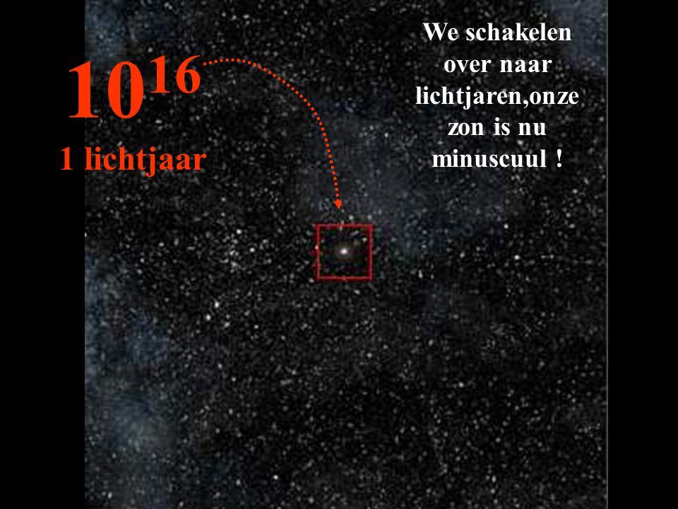 We schakelen over naar lichtjaren,onze zon is nu minuscuul ! 10 16 1 lichtjaar