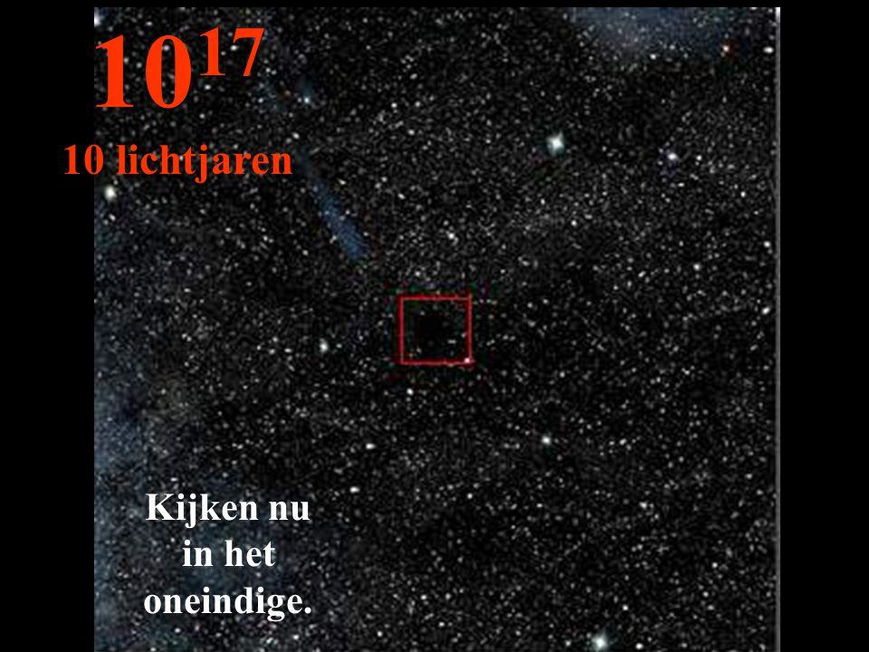 Kijken nu in het oneindige. 10 17 10 lichtjaren