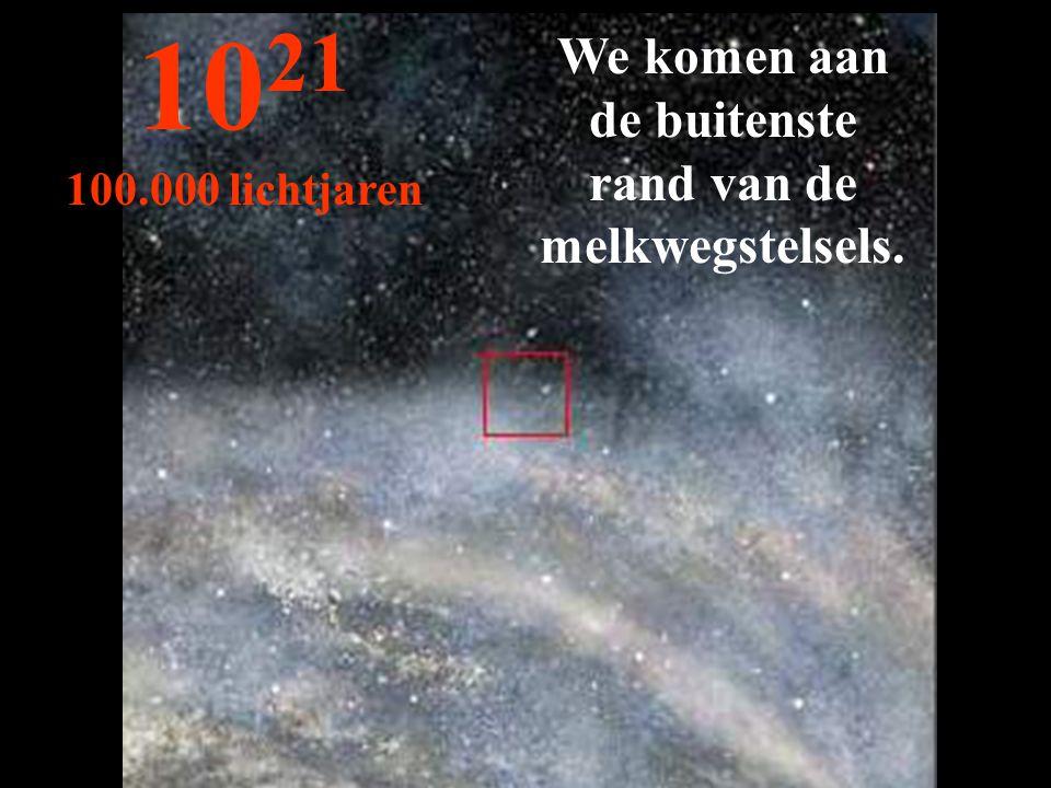 We komen aan de buitenste rand van de melkwegstelsels. 10 21 100.000 lichtjaren