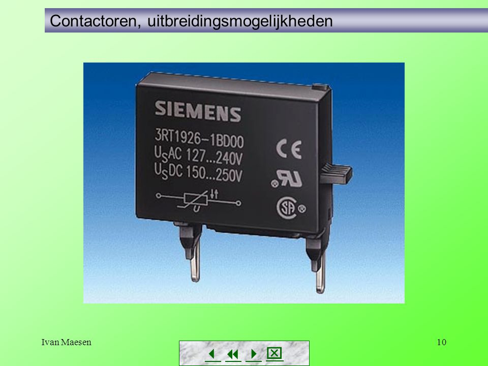 Ivan Maesen11        Contactoren, gebruikscategoriën Inschakelverschijnselen Uitschakelverschijnselen Inschakelstroomstoot bij inductieve verbruikers Oplaadstroom bij condensatoren Inductiespanningen bij inductieve verbruikers Generatorwerking bij omkeren draaizin, plotse verlaging snelheid