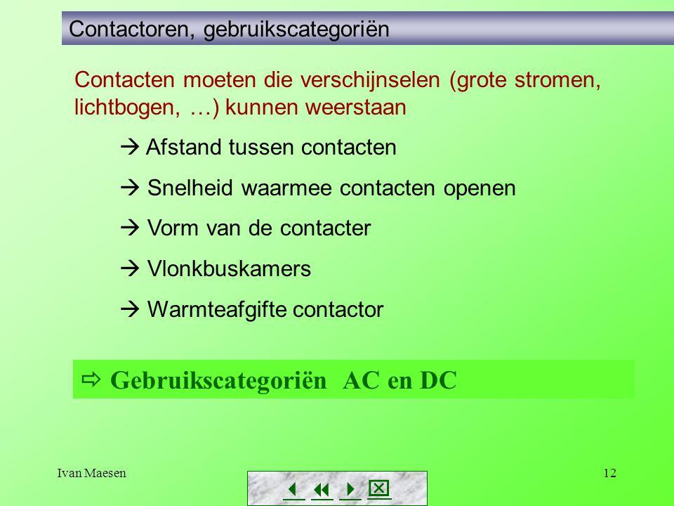 Ivan Maesen12        Contactoren, gebruikscategoriën Contacten moeten die verschijnselen (grote stromen, lichtbogen, …) kunnen weerstaan  Afs