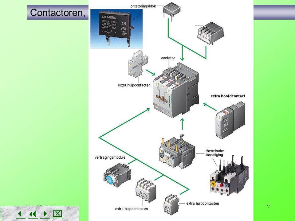 Ivan Maesen8        Contactoren, uitbreidingsmogelijkheden extra hulpcontacten vertragingsmodules (in- of uitschakelvertraging) ontstoringsblok DC : een diode AC: een RC-netwerkje AC en DC : een varistor thermisch uitschakelblok …
