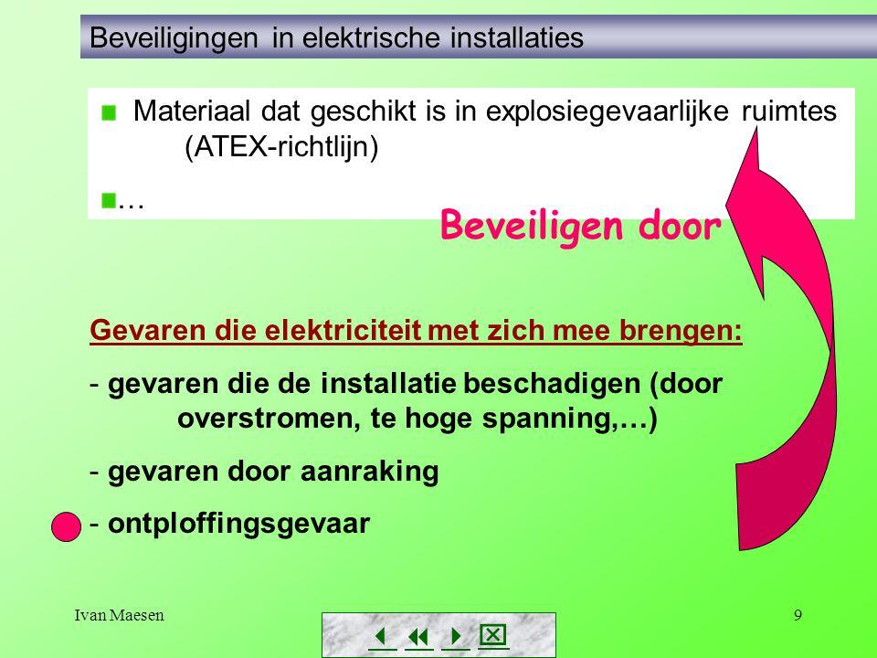 Ivan Maesen9 Gevaren die elektriciteit met zich mee brengen: - gevaren die de installatie beschadigen (door overstromen, te hoge spanning,…) - gevaren door aanraking - ontploffingsgevaar        Beveiligingen in elektrische installaties Materiaal dat geschikt is in explosiegevaarlijke ruimtes (ATEX-richtlijn) … Beveiligen door