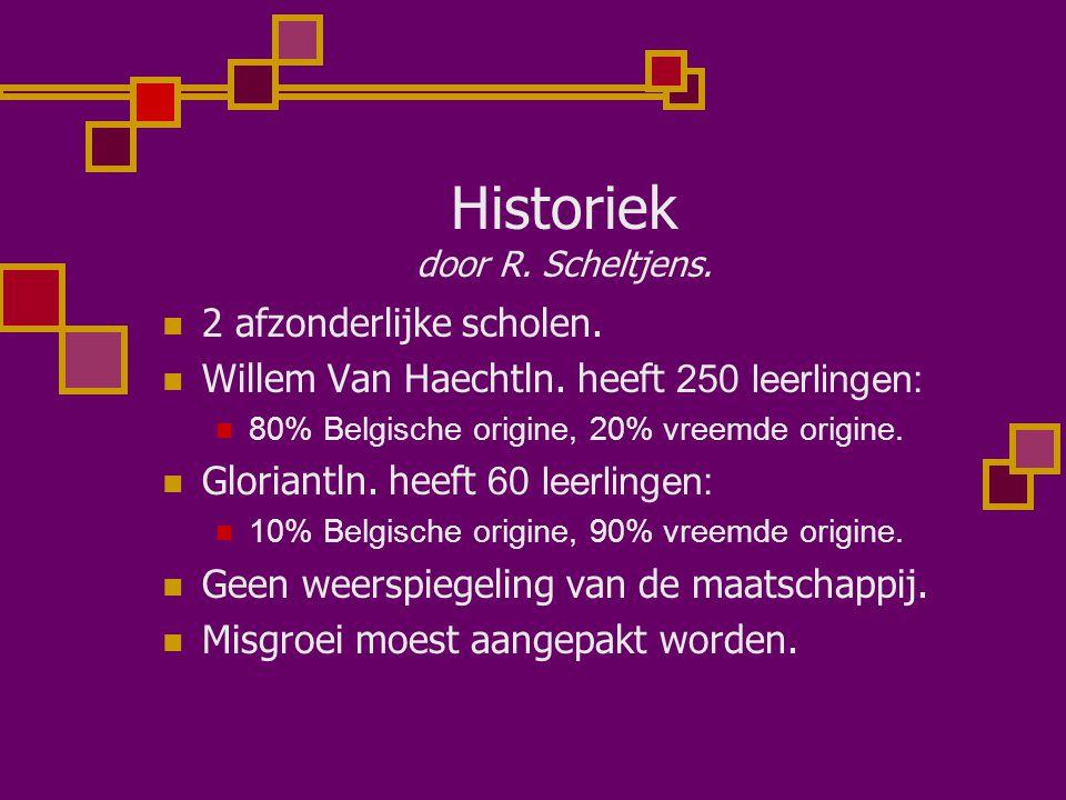 Historiek door R. Scheltjens. 2 afzonderlijke scholen. Willem Van Haechtln. heeft 250 leerlingen: 80% Belgische origine, 20% vreemde origine. Gloriant
