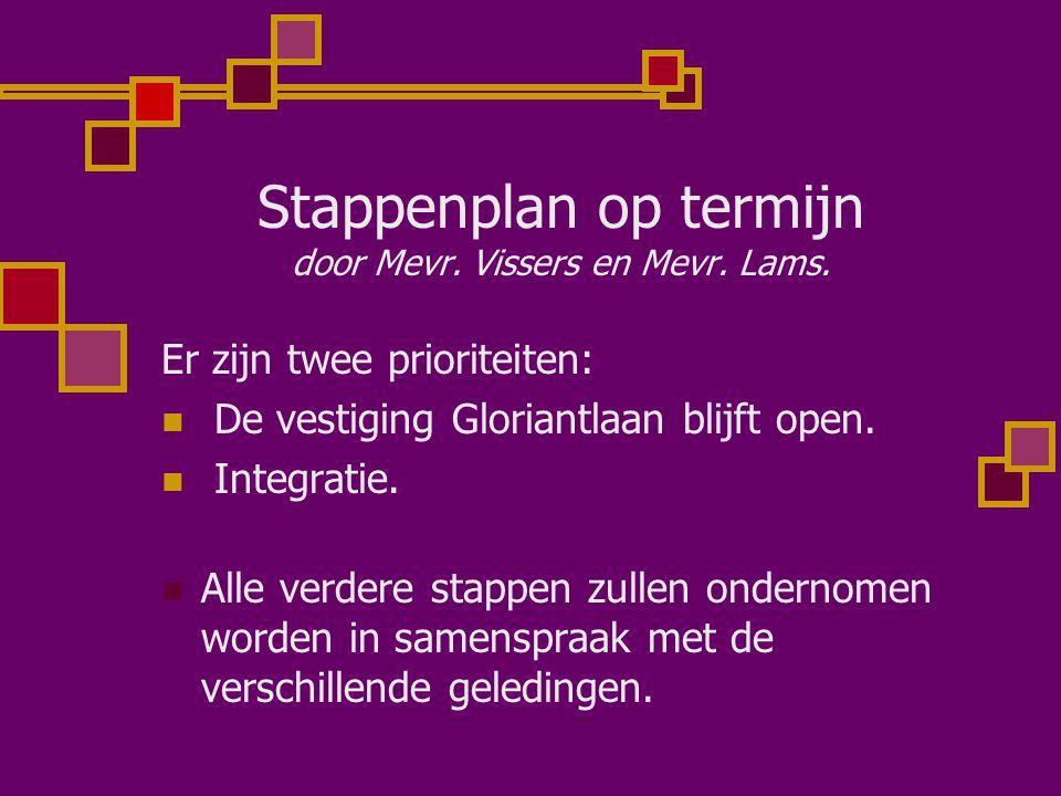 Stappenplan op termijn door Mevr. Vissers en Mevr. Lams. Er zijn twee prioriteiten: De vestiging Gloriantlaan blijft open. Integratie. Alle verdere st