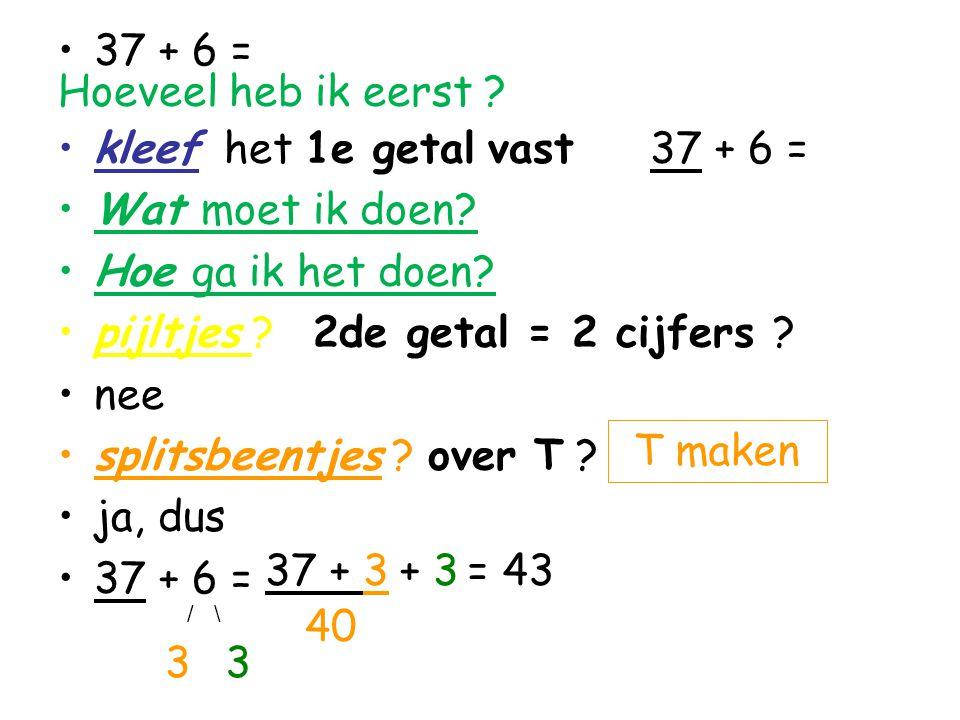 37 + 6 = Hoeveel heb ik eerst ? kleef het 1e getal vast 37 + 6 = Wat moet ik doen? Hoe ga ik het doen? pijltjes ? 2de getal = 2 cijfers ? nee splitsbe
