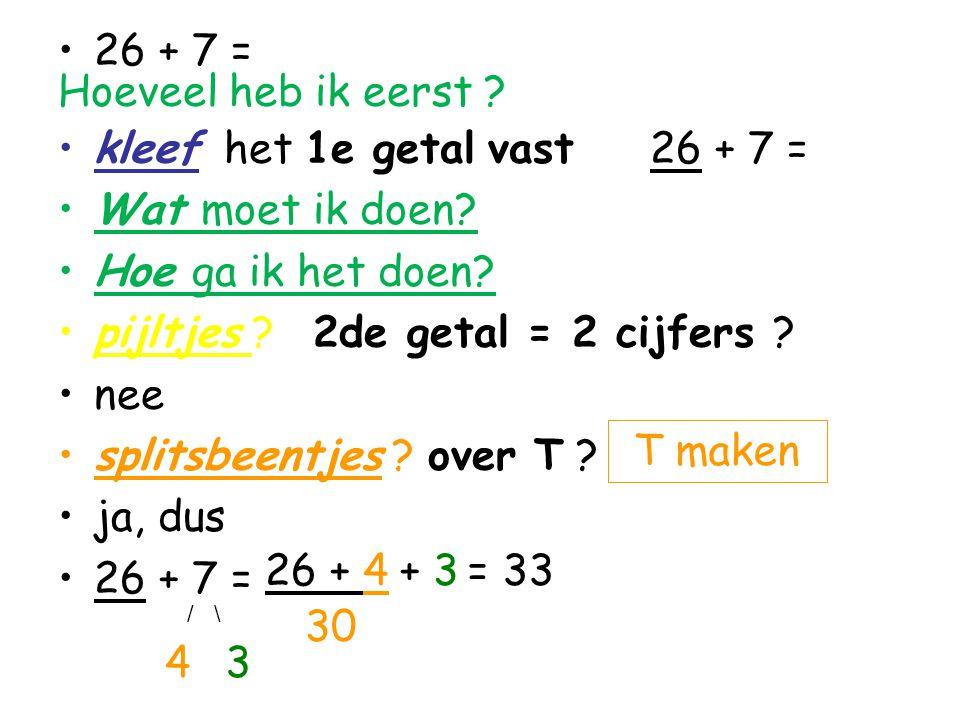 26 + 7 = Hoeveel heb ik eerst ? kleef het 1e getal vast 26 + 7 = Wat moet ik doen? Hoe ga ik het doen? pijltjes ? 2de getal = 2 cijfers ? nee splitsbe