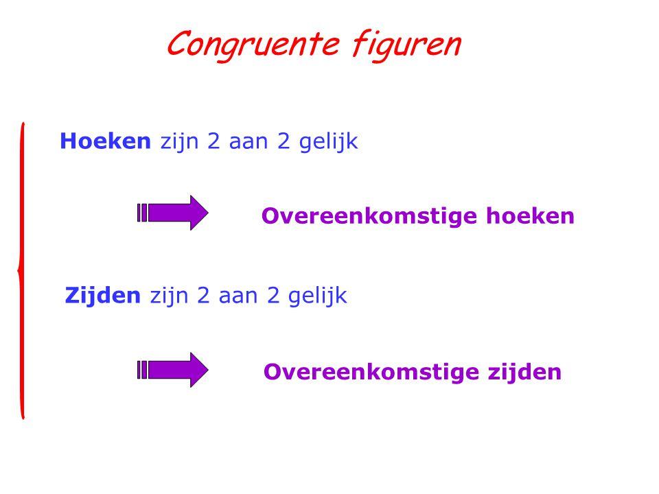 Congruente figuren Hoeken zijn 2 aan 2 gelijk Overeenkomstige hoeken Zijden zijn 2 aan 2 gelijk Overeenkomstige zijden