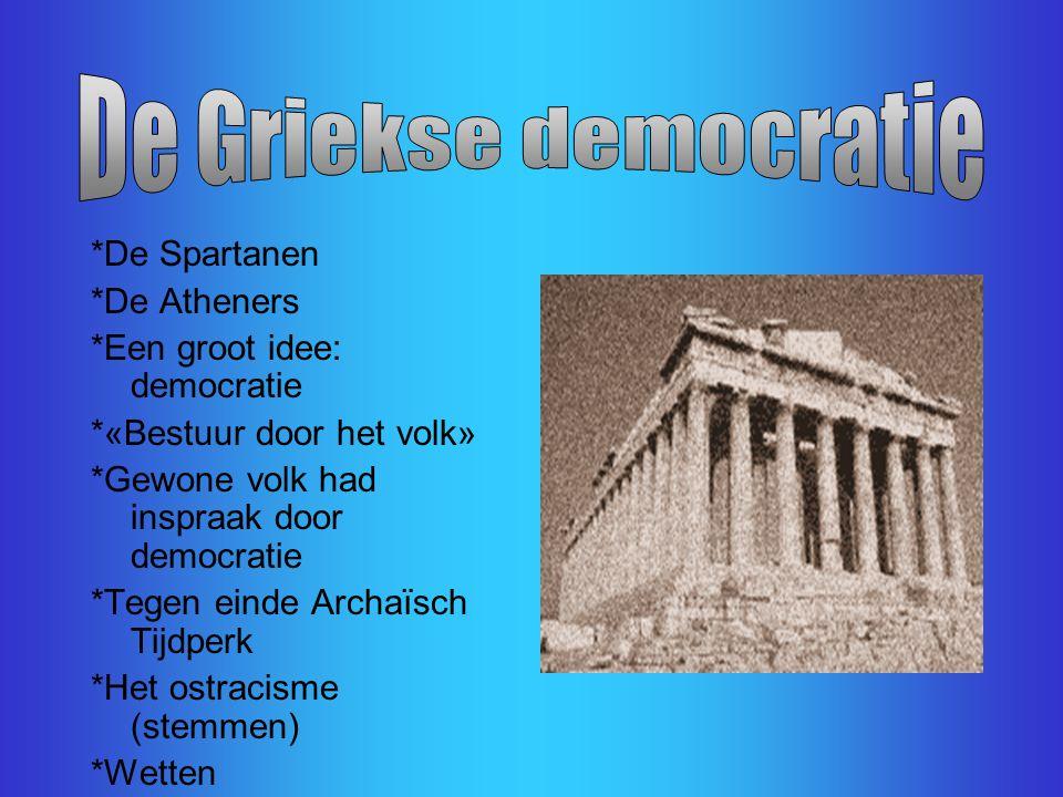 Deze les gaat over: De Griekse democratie (Athene en Sparta) De indeling in de maatschappij De wetgever Solon De maker van de democratie Perikles