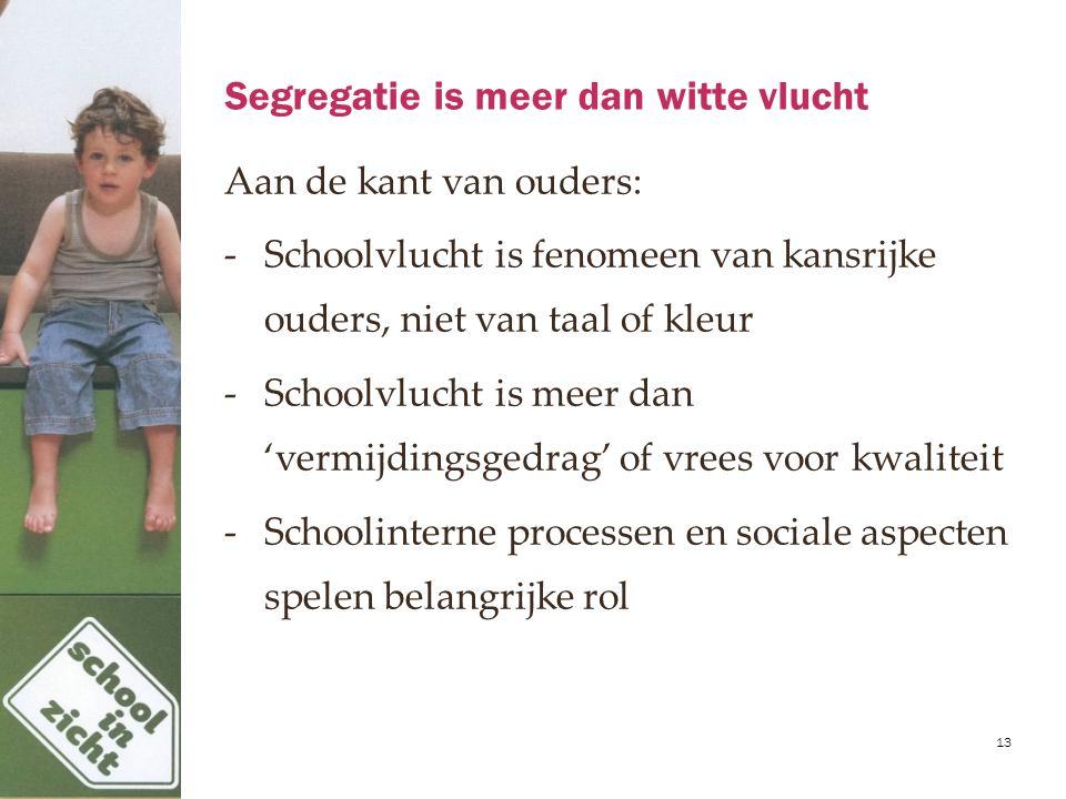 Segregatie is meer dan witte vlucht Aan de kant van ouders: -Schoolvlucht is fenomeen van kansrijke ouders, niet van taal of kleur -Schoolvlucht is me