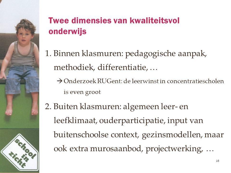 Twee dimensies van kwaliteitsvol onderwijs 1. Binnen klasmuren: pedagogische aanpak, methodiek, differentiatie, …  Onderzoek RUGent: de leerwinst in