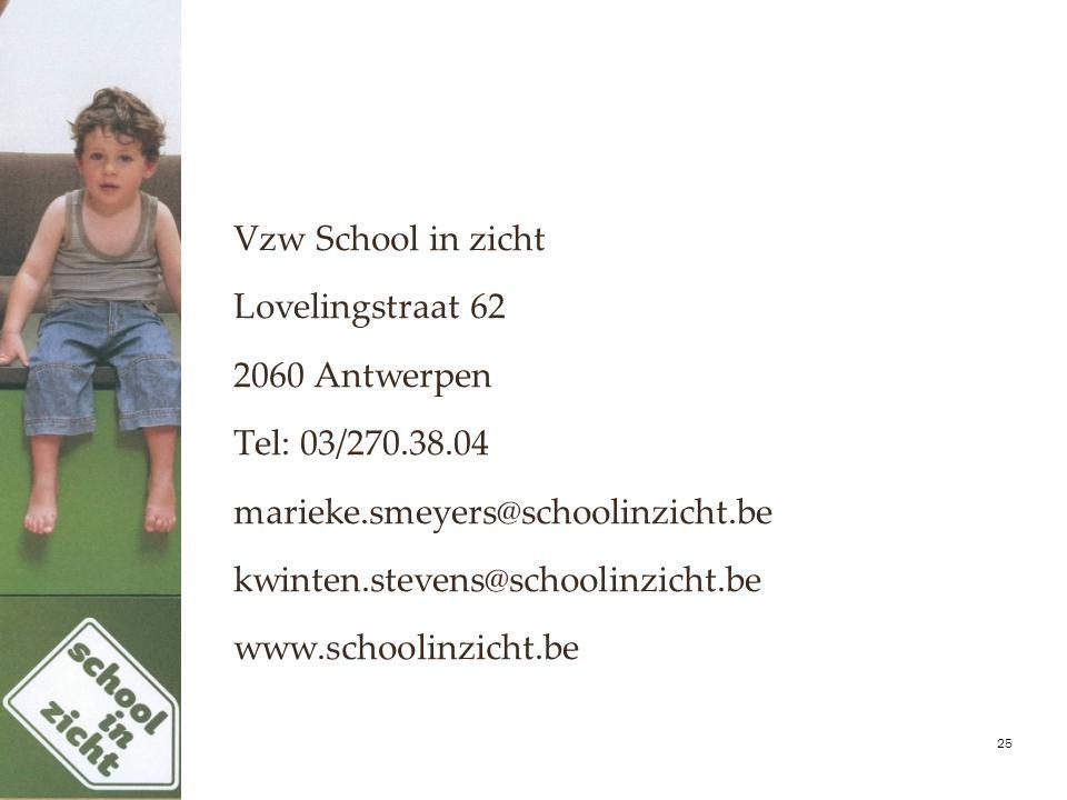 Vzw School in zicht Lovelingstraat 62 2060 Antwerpen Tel: 03/270.38.04 marieke.smeyers@schoolinzicht.be kwinten.stevens@schoolinzicht.be www.schoolinz