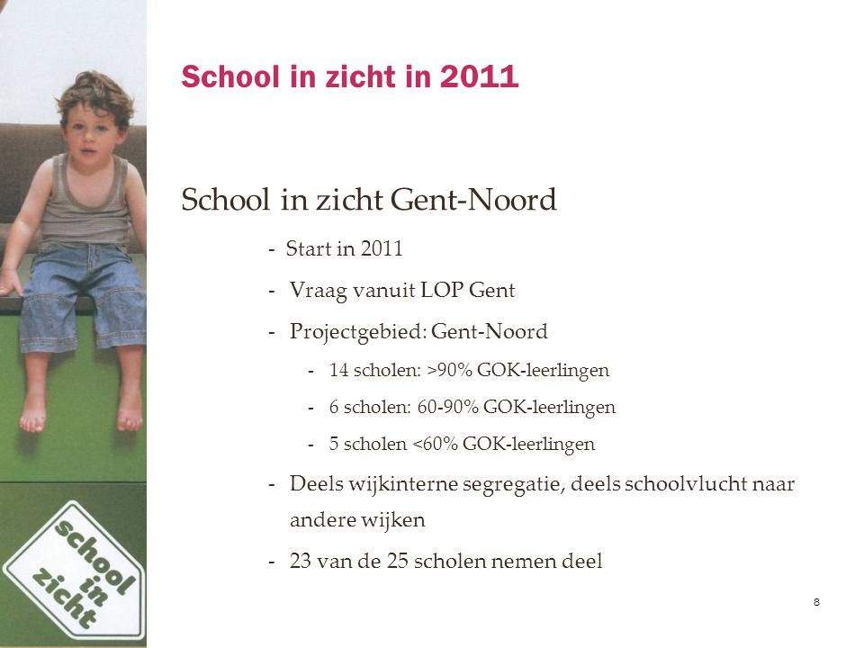 School in zicht in 2011 School in zicht Gent-Noord - Start in 2011 -Vraag vanuit LOP Gent -Projectgebied: Gent-Noord -14 scholen: >90% GOK-leerlingen