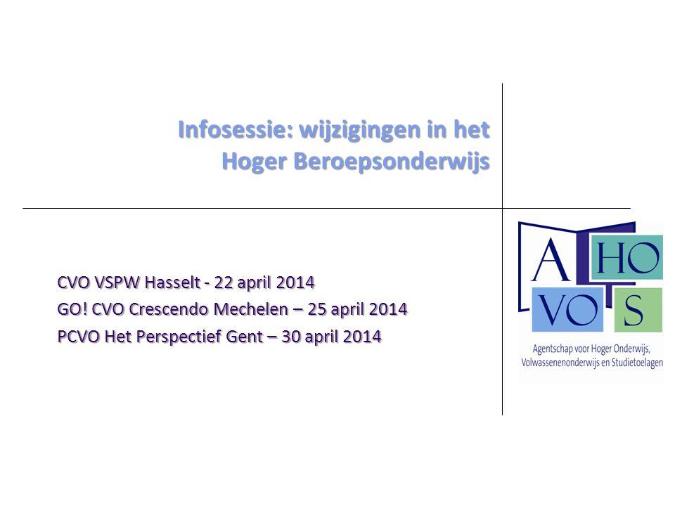 CVO VSPW Hasselt - 22 april 2014 GO! CVO Crescendo Mechelen – 25 april 2014 PCVO Het Perspectief Gent – 30 april 2014 Infosessie: wijzigingen in het H