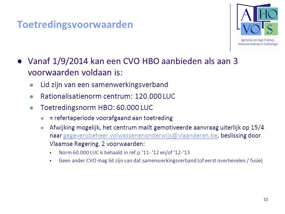 Toetredingsvoorwaarden Vanaf 1/9/2014 kan een CVO HBO aanbieden als aan 3 voorwaarden voldaan is: Lid zijn van een samenwerkingsverband Rationalisatie