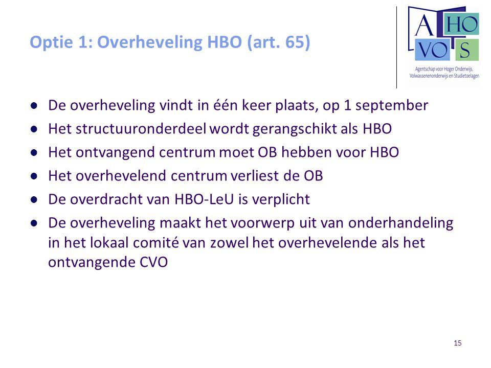 Optie 1: Overheveling HBO (art. 65) De overheveling vindt in één keer plaats, op 1 september Het structuuronderdeel wordt gerangschikt als HBO Het ont