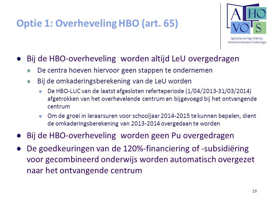 Optie 1: Overheveling HBO (art. 65) Bij de HBO-overheveling worden altijd LeU overgedragen De centra hoeven hiervoor geen stappen te ondernemen Bij de