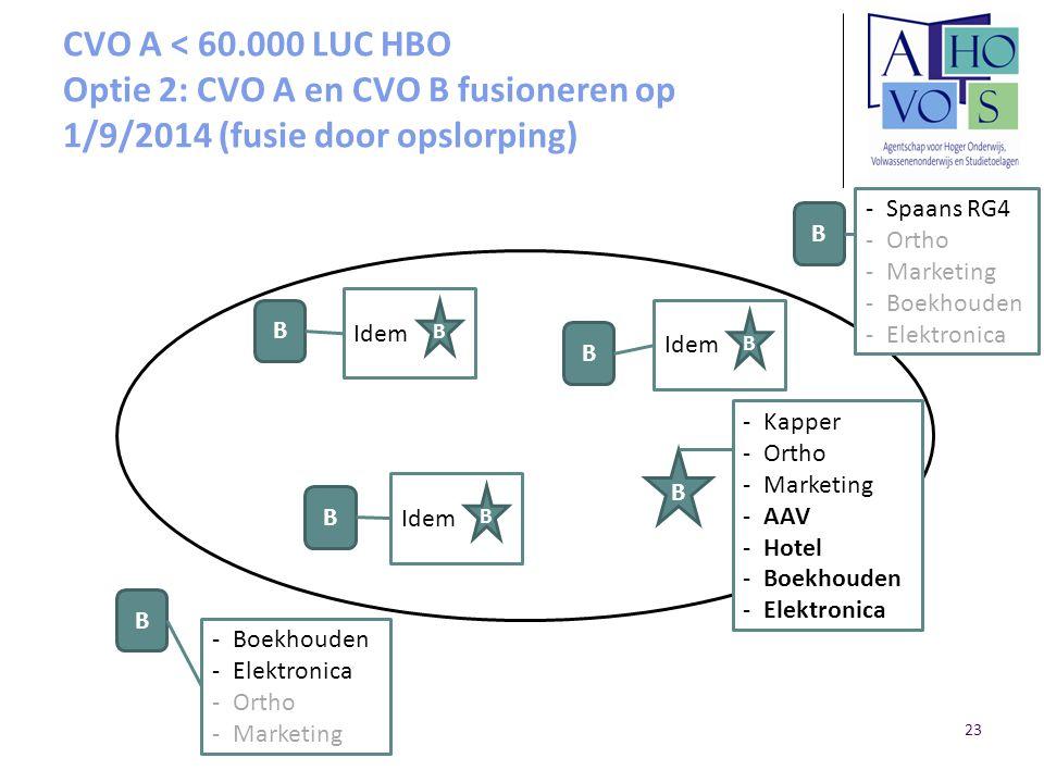 CVO A < 60.000 LUC HBO Optie 2: CVO A en CVO B fusioneren op 1/9/2014 (fusie door opslorping) B B B B B -Kapper -Ortho -Marketing -AAV -Hotel -Boekhou
