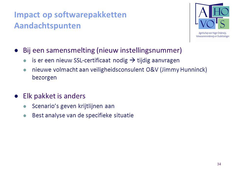 Impact op softwarepakketten Aandachtspunten Bij een samensmelting (nieuw instellingsnummer) is er een nieuw SSL-certificaat nodig  tijdig aanvragen n