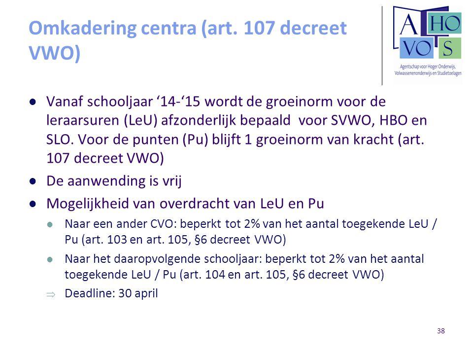 Omkadering centra (art. 107 decreet VWO) Vanaf schooljaar '14-'15 wordt de groeinorm voor de leraarsuren (LeU) afzonderlijk bepaald voor SVWO, HBO en