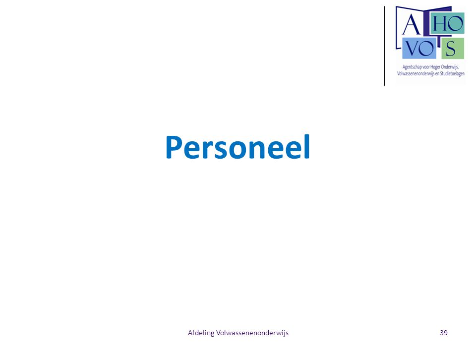 Afdeling Volwassenenonderwijs Personeel 39